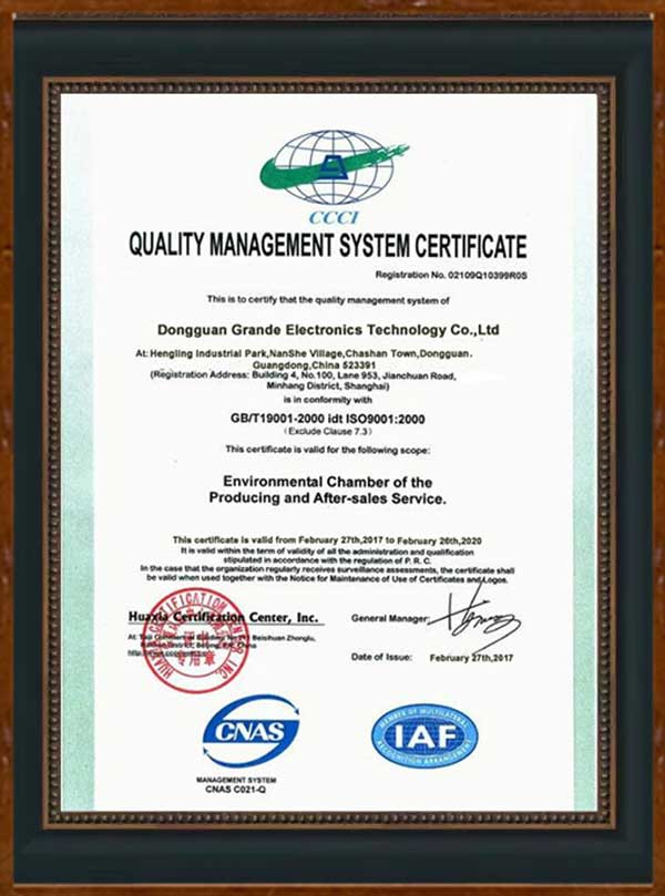 ISO9001: 2000 Quality (Grande001)