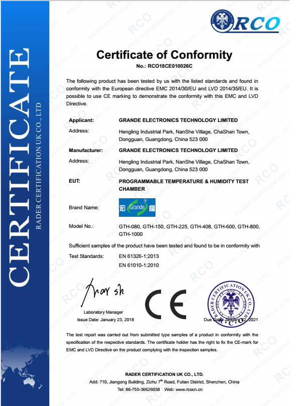 CE of Temperature Humidity Test Chamber